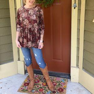Maroon floral peplum blouse